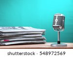 retro microphone with newspaper ...   Shutterstock . vector #548972569