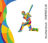 Abstract Cricket Player Vector...