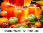 glasses of colorful fruit and... | Shutterstock . vector #548985238