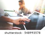business team meeting present.... | Shutterstock . vector #548993578