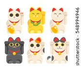 Stock vector vector flat style set of japanese lucky cat maneki neko icon for web isolated on white background 548994946