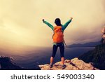 successful hiker hiking on... | Shutterstock . vector #549003340