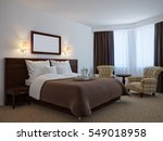 cozy traditional bedroom with... | Shutterstock . vector #549018958