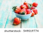 Ripe Red Strawberries On Green...