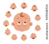 baby facial expression isolated ... | Shutterstock .eps vector #549038524