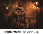 Portrait Of Steampunk Man With...