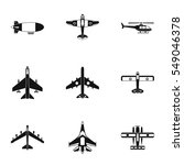 army planes icons set. simple... | Shutterstock . vector #549046378