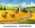 farm  rural landscape. raster... | Shutterstock . vector #549050554