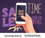 sale time for mobile app banner.... | Shutterstock .eps vector #549069400