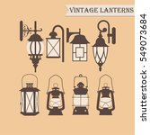 set of vintage lanterns. vector ... | Shutterstock .eps vector #549073684