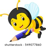 Stock vector bee holding pencil 549077860
