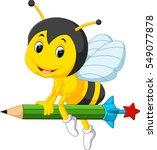 bee holding pencil   Shutterstock .eps vector #549077878