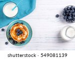 stack of pancakes with fresh...   Shutterstock . vector #549081139