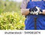 midsection of gardener holding... | Shutterstock . vector #549081874