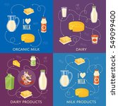 four dairy banners with... | Shutterstock .eps vector #549099400
