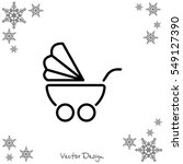 Web Line Icon. Baby Carriage