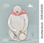 polar bear with little girl | Shutterstock .eps vector #549140104