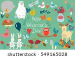 valentine's day. a set of... | Shutterstock .eps vector #549165028