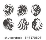 Stock vector lion head logo set vector illustrations emblem design on white background 549170809