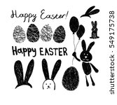 easter set of rabbits  eggs and ... | Shutterstock .eps vector #549175738