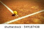 tennis court t line with ball ... | Shutterstock . vector #549187438
