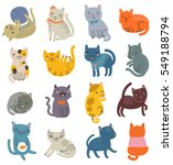 funny vector set of cats.... | Shutterstock .eps vector #549188794