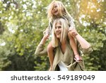 little girl sitting on her...   Shutterstock . vector #549189049