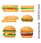 set of delicious sandwich... | Shutterstock .eps vector #549191164