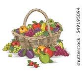 fruits basket in woodcut style | Shutterstock . vector #549195094