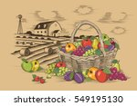 fruits basket and farm | Shutterstock . vector #549195130