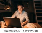 young businessman working on a... | Shutterstock . vector #549199018
