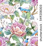 Watercolor Floral Pattern Of...
