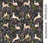 Watercolor Pattern Deer And...