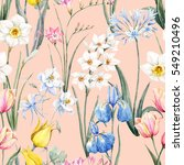Stock photo watercolor floral spring pattern botanical illustration tulip flowers narcissus pink freesia 549210496