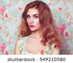 beautiful woman face. perfect... | Shutterstock . vector #549210580