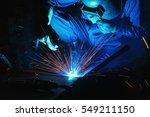 welder of metal welding with... | Shutterstock . vector #549211150