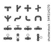 vector icon set pipe parts.... | Shutterstock .eps vector #549214270