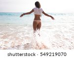 young pretty woman with white... | Shutterstock . vector #549219070