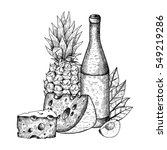 hand drawn sketch bottle of... | Shutterstock .eps vector #549219286