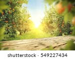 wooden table place of free... | Shutterstock . vector #549227434