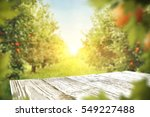 wooden table place of free... | Shutterstock . vector #549227488