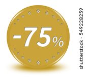 "75 percent button isolated. ""3d ... 