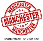 manchester. stamp. red round... | Shutterstock .eps vector #549235420