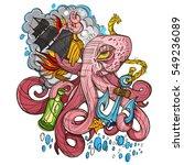 octopus  a ship and a frigate... | Shutterstock .eps vector #549236089
