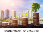 growing plant on row of coin... | Shutterstock . vector #549252340