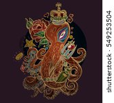 octopus in the crown with the... | Shutterstock .eps vector #549253504