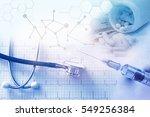 medical stethoscope   syringe...   Shutterstock . vector #549256384