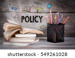 policy. stack of books and... | Shutterstock . vector #549261028