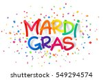 rainbow colors mardi gras sign... | Shutterstock .eps vector #549294574