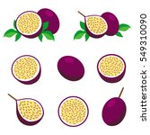 passion fruit with leaves.... | Shutterstock .eps vector #549310090